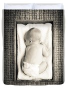 Newborn Baby In Crate Filtered Duvet Cover
