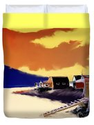 Newfoundland Fishing Shacks Duvet Cover
