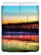 Newport Beach Pier At Sunrise Duvet Cover