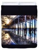 Newport Beach Pier - Reflections Duvet Cover