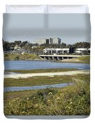 Newport Estuary And Nearby Businesses Duvet Cover