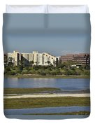 Newport Estuary Looking Across At Major Hotel And Businesses Duvet Cover