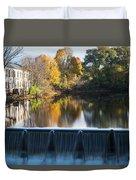 Newton Upper Falls Autumn Waterfall Reflection Duvet Cover