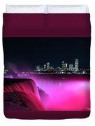 Niagara Falls At Night - Pink Duvet Cover