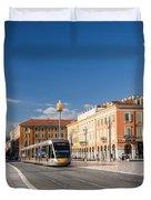 Nice Tramway At Place Massena Duvet Cover