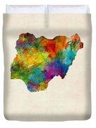 Nigeria Watercolor Map Duvet Cover