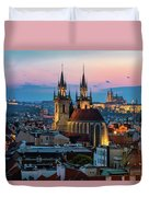 Night Aerial View Of Prague Old Town Duvet Cover