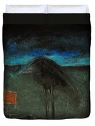 Night Bird With Red Square Duvet Cover