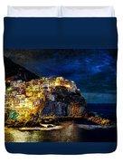 Night Comes To Manarola - Vintage Version Duvet Cover