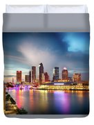 Night Downtown River Duvet Cover