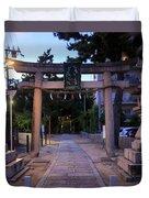Night Falls On Esaka Shrine Duvet Cover