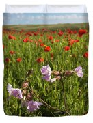 Night Flowering Catchfly And Poppies Duvet Cover