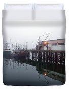 Night Fog Along The Dock Duvet Cover
