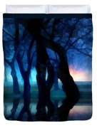 Night Fog In A City Park Duvet Cover