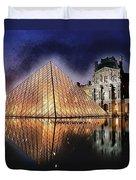 Night Glow Of The Louvre Museum In Paris Duvet Cover