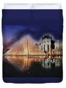 Night Glow Of The Louvre Museum In Paris Text Paris Duvet Cover