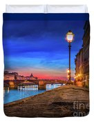 Night In Florence Italy Duvet Cover