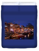Night Lights On The Amsterdam Canals 7. Holland Duvet Cover