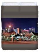 Night Panorama Of Okc Duvet Cover