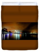 Night Reflections Hudson River Ny Nj Duvet Cover