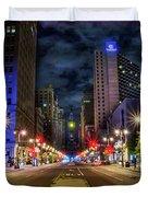 Night Shot Of Broad Street - Philadelphia Duvet Cover