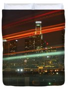 Night Shot Of Downtown Los Angeles Skyline From 6th St. Bridge Duvet Cover