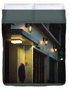 Night Street Cafe Duvet Cover