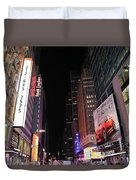 Night Time At Times Square Duvet Cover