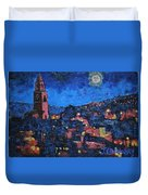 Night Time View Of Cork City Duvet Cover