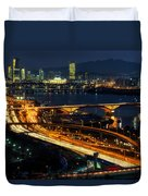 Night Traffic Over Han River In Seoul Duvet Cover