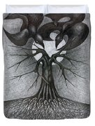 Night Tree Moon And We  Duvet Cover