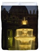 Night View Of A Fountain Outside Saint Duvet Cover