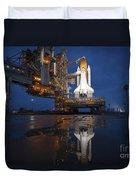Night View Of Space Shuttle Atlantis Duvet Cover by Stocktrek Images