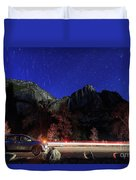 Night View Of The Upper And Lower Yosemite Fall Duvet Cover