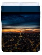 Night View Over Paris With Eiffel Tower Duvet Cover