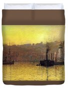 Nightfall In Scarborough Harbour Duvet Cover