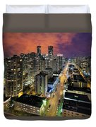 Nightlife On Robson Street Duvet Cover