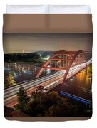 Nighttime Boats Cruise Up And Down The Loop 360 Bridge, A Boaters Paradise With Activities That Include Boating, Fishing, Swimming And Picnicking - Stock Image Duvet Cover