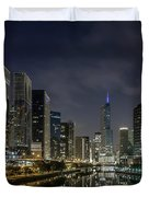 Nighttime Chicago River And Skyline View Duvet Cover