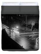 Nighttime Street Scene With Traffic Duvet Cover