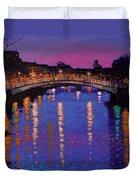 Nighttown Ha Penny Bridge Dublin Duvet Cover by John  Nolan