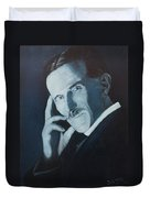 Nikola Tesla - Blue Portrait Duvet Cover