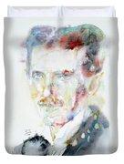 Nikola Tesla - Watercolor Portrait.3 Duvet Cover