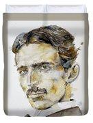 Nikola Tesla - Watercolor Portrait.6 Duvet Cover