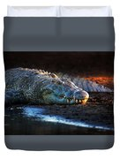 Nile Crocodile On Riverbank-1 Duvet Cover