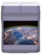 Nile River At Night From Iss Duvet Cover