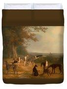 Nine Greyhounds In A Landscape Duvet Cover
