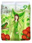 Nine Of Pentacles Illustrated Duvet Cover