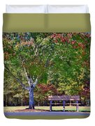 Ninety Six National Historic Site Bench In Autumn  Duvet Cover