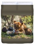 Lion Cub Lick Duvet Cover